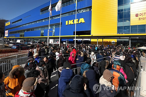 First year sales of global furniture giant IKEA in Korea have reached 210 billion won (including sales from December 2014), according to a recent report. This tops the average sales of all 345 IKEA stores around the world. (Image : Yonhap)