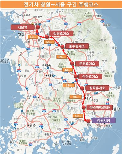There are 6 public high-speed battery chargers located en route. (Image : Yonhap)