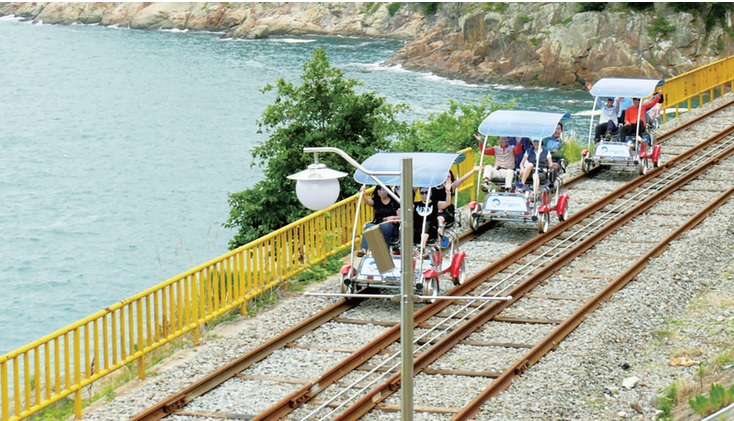 Currently, the most successful use of abandoned railways is the multitude of 'Rail Bike' operations. (Image : Korea Rail Network Authority Blog)