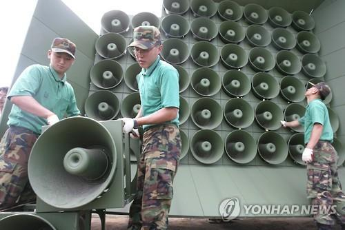 With South Korea resuming loudspeaker broadcasts against North Korea following the latter's nuclear test, North Korea also responded with its own loudspeaker broadcasts. However, instead of pointing its speakers to the south, it is sending out broadcasts towards its own territory. (Image : Yonhap)