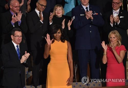According to a report from ABC news, American First Lady Michelle Obama's dress received more attention than President Barack Obama's last State of the Union address. (Image : Yonhap)