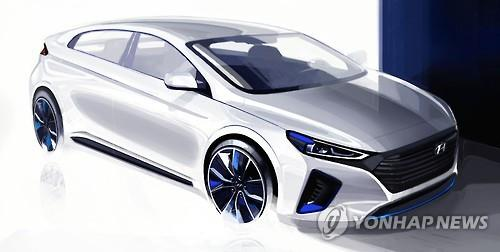Hyundai's Ioniq is the first eco-friendly car to use the letter 'C' in its LED positioning light. (Image : Yonhap)