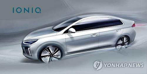 An image of the Ioniq hybrid model that Hyundai Motor Co. expects to compete with market leader Prius. (Image : Yonhap)