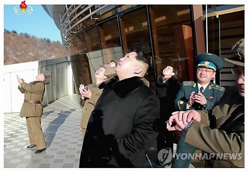 Kim Jong-un, watching the long-range rocket being launched. (Image : Yonhap)