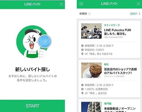 LineBite, a part-time job recruiting service provided by Line, a Naver affiliate, is becoming increasingly popular in Japan. (Image : Yonhap)