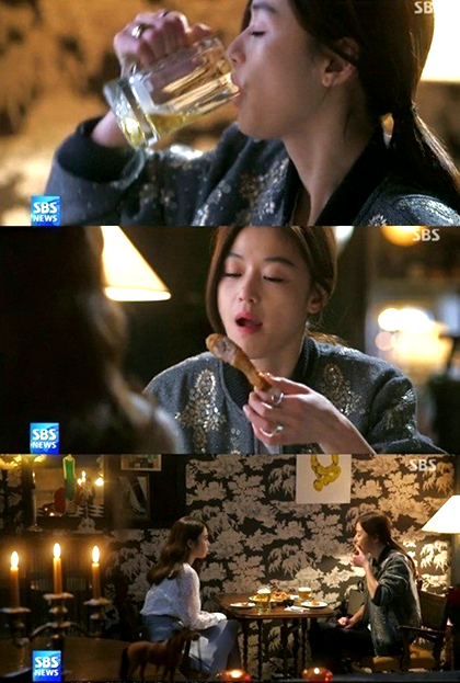 The current situation is similar to the 'Chicken and Beer' craze that occurred in China after the Korean Drama 'Love from Another Star' aired and quickly became a mega-hit. (Image : SBS capture)