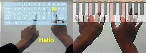 Korean researchers have developed Ultra Low Power (ULP) augmented reality (AR) glasses that can detect finger movement, allowing users to play a virtual piano or type with a virtual keyboard. (Image : KAIST)