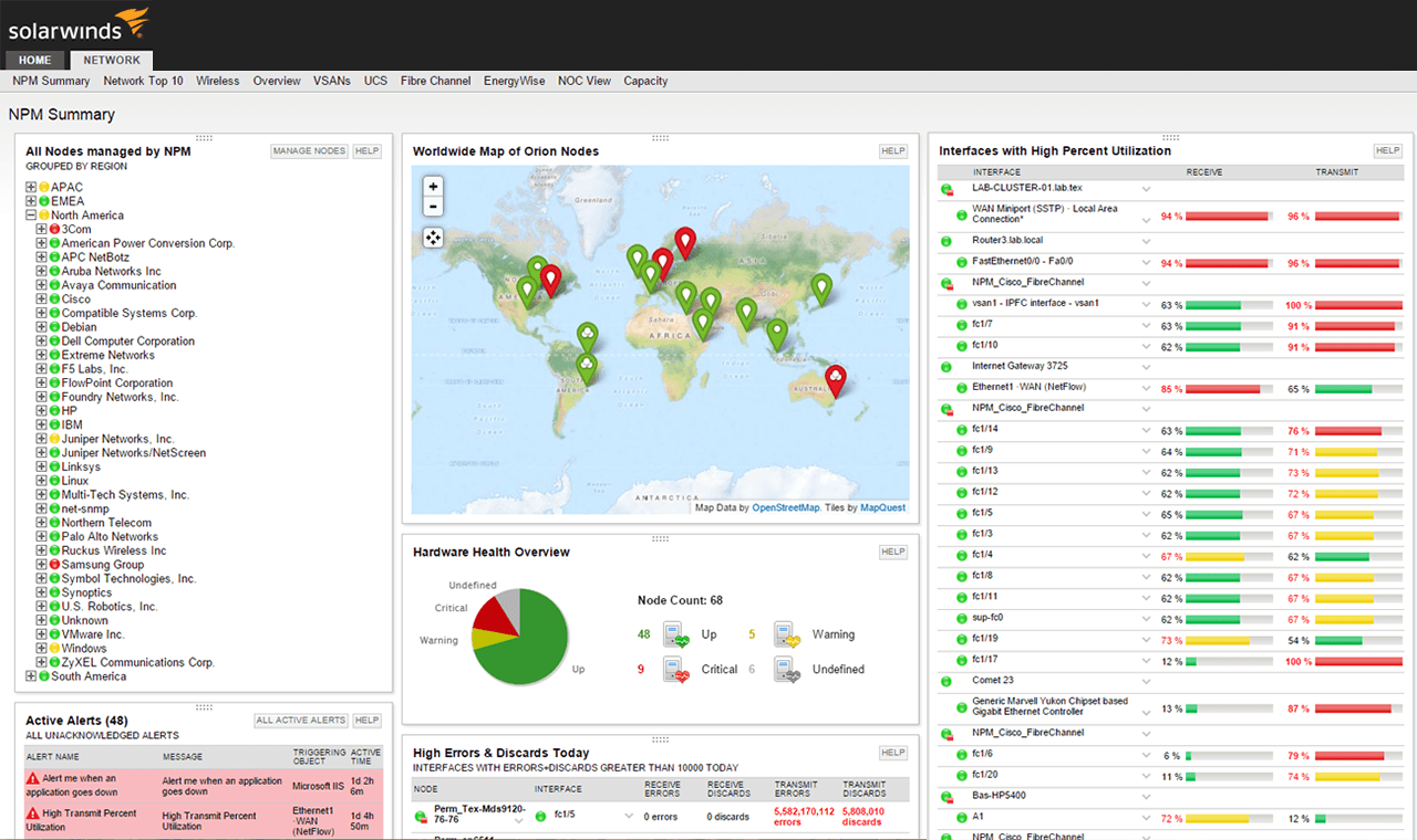 •SolarWinds Network Performance Monitor: Fault, availability and performance monitoring for networks of all sizes. (Image : Solar Winds Homepage)