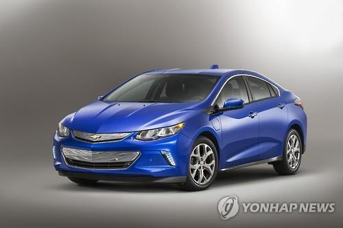 This photo released by GM Korea, the South Korean unit of U.S.-based General Motors Co. on Dec. 3, 2015, shows the new model of its extended range electric vehicle Volt, which will be released this year. (Image : Yonhap)