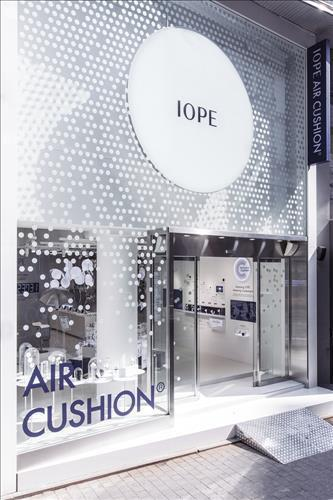 An Iope pop-up store in Myeongdong. Iope is an AmorePacific affiliate that is popular for its cushion foundations. (Image : Yonhap)