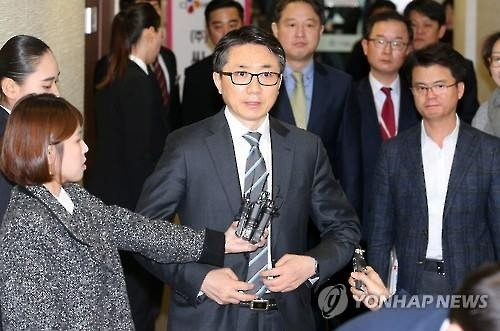 After a shareholders' meeting in Seoul on Feb. 26, 2016, Kim Jin-seok, CEO of CJ Hellovision which operates major cable channels, announces that the company's merger with SK Telecom has been approved. (Image : Yonhap)