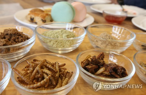 'Papillon's Kitchen', the first insect restaurant in Korea, serves food made from insects such as grasshoppers and crickets. (Image : Yonhap)