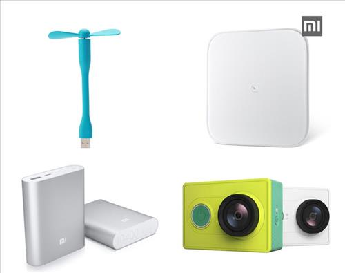 Products of Xiaomi. The USB fan, weight measure, camera and supplimentary battery. (clockwise) (Image : Yonhap)
