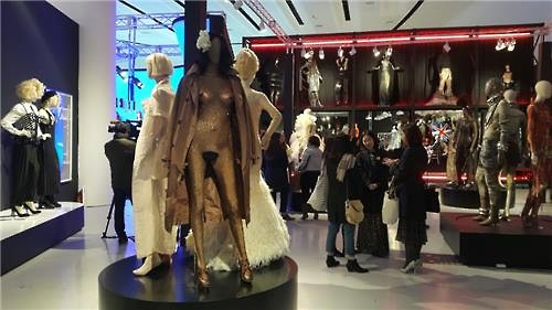 Creative works by Jean Paul Gaultier are displayed in the Seoul Exhibition at Dongdaemun Design Plaza in central Seoul on March 25, 2016. (Image : Yonhap)