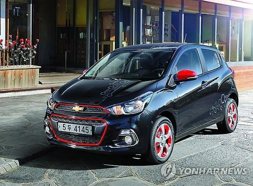 This undated file photo shows GM Korea's Chevrolet Spark mini car, which competes with Kia Motors' Morning in Korea. (Image : Yonhap)