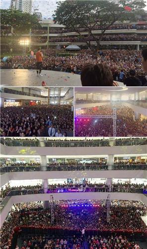 This compiled photo shows Filipino fans attending promotional events for a British fashion brand to see its model, South Korean actor Lee Min-ho, on April 2-3, 2016, in Manila and Cebu. (Image : Yonhap)