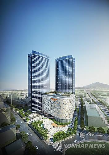 An architectural rendering of Jeju Dream Tower. (Image : Lotte Tour Development)