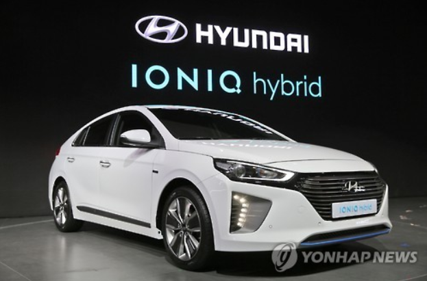 Hyundai Motor Co. armed with relatively diverse hybrid lineups, including the Ioniq, shown here in the image, led by selling 6,398 vehicles, followed by Kia Motors Corp. with its quarterly sales of 1,711 units.