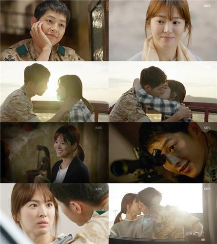 "The season finale of ""Descendants of the Sun"" attracted 38.8 percent of TV homes in South Korea, only 1.2 percentage points shy of the 40-percent milestone. (image: Yonhap)"