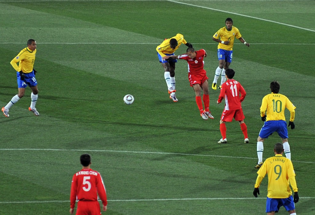 North Korea playing against Brazil in the 2010 World Cup. (image: Wikipedia)