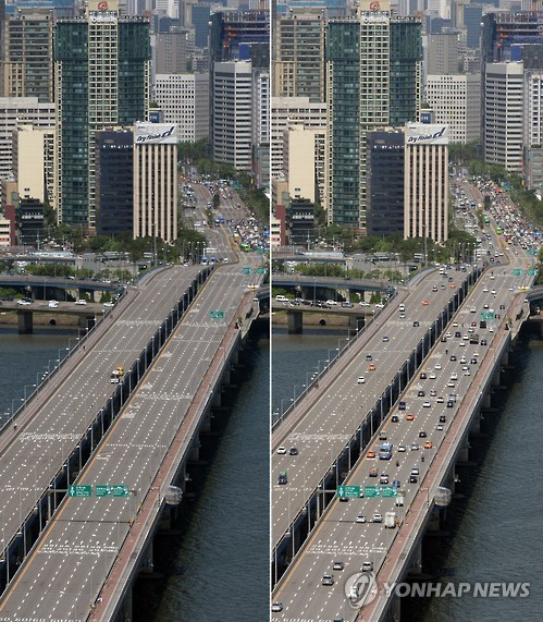 Traffic comes to a halt on Mapo Bridge, Seoul.