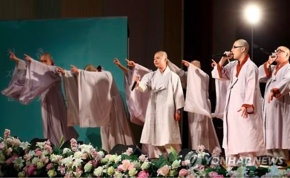"The performance was the opening number for the ""Entrance into Buddhist Priesthood Concert"" hosted by the Jogye Order of Korean Buddhism, performed by Buddhist monks-to-be in their early 20s. (Image Courtesy of Yonhap)"