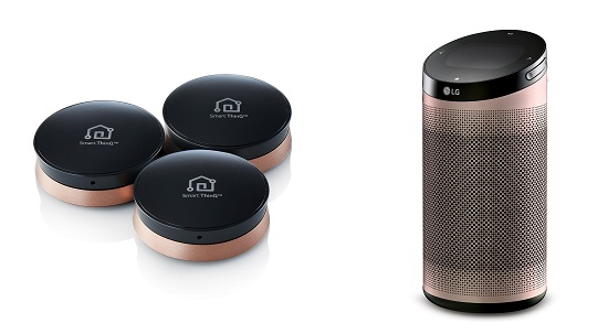 They are SmartThinQ sensors (L) and SmartThinQ Hub (R). (image: LG Electronics)