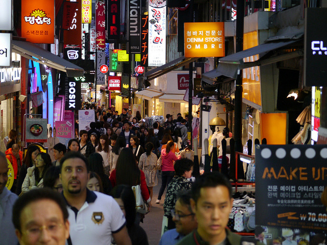 Myeongdong is one of Seoul's premier shopping destinations, frequently visited by Chinese tourists. (image: Flickr/ Michael-kay Park)