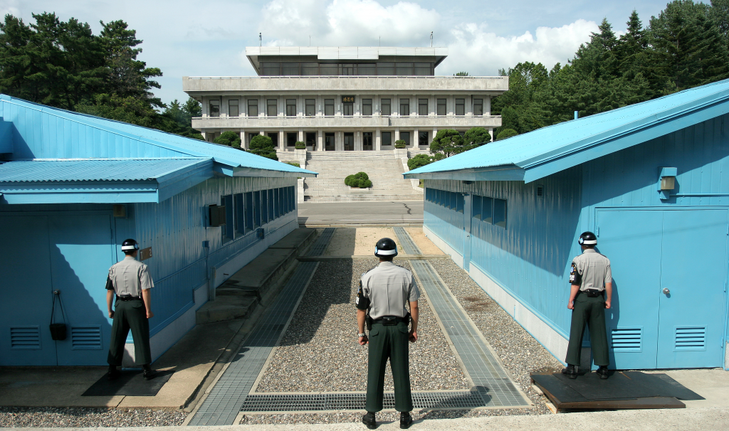 The Joint Security Area (JSA) is the only portion of the Korean Demilitarized Zone (DMZ) where North and South Korean forces stand face-to-face. (image: Wikipedia)