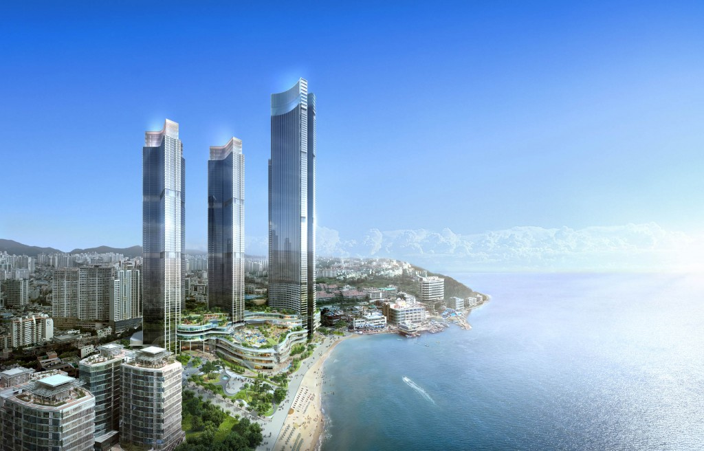 Lotte Hotel has recently finalized plans to operate a luxury hotel inside the LCT Landmark Tower. The 101-storey tower, which is also located by Haeundae beach, is expected to be completed in 2019. (image: LCT)
