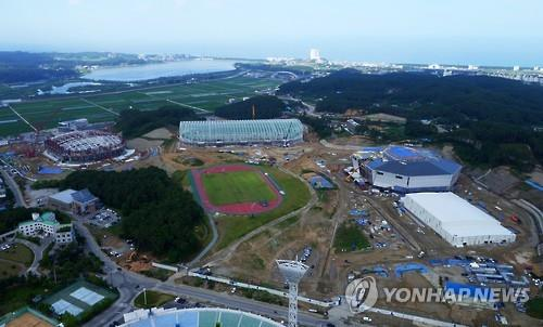 The 2018 Winter Games facilities in Gangneung, Gangwon Province, are under construction. (Yonhap)