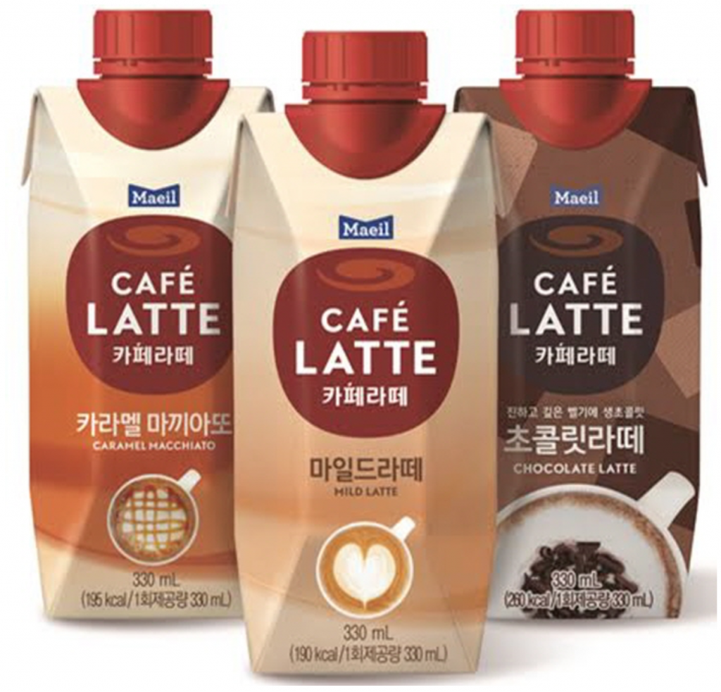 Café Latte, a major coffee brand from Maeil Dairies Co., recently launched three new products –  Mild Latte, Caramel Macchiato and Chocolate Latte. (image: Maeil Dairies)