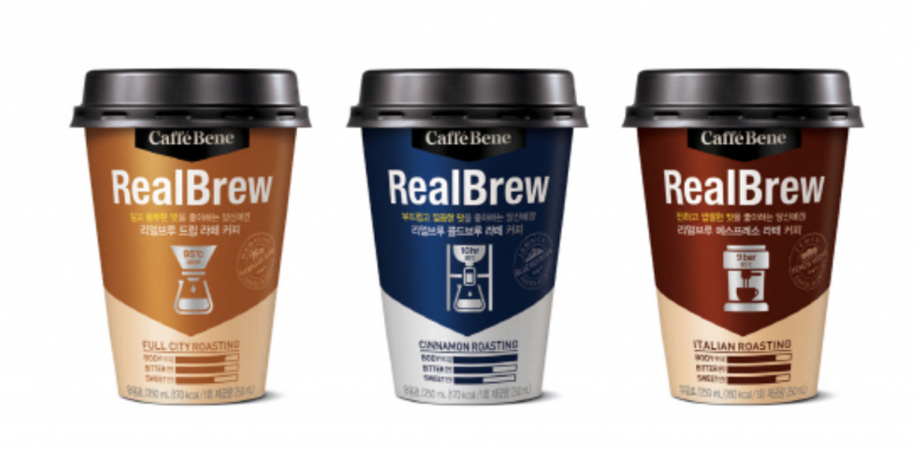 In June, Korean coffeehouse chain Caffé Bene teamed up with Purmil to launch a large-size cupped coffee, RealBrew, that comes in bigger 250ml containers. (image: Purmil)