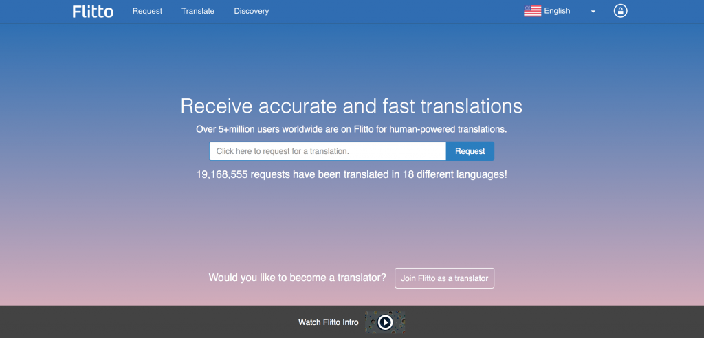 Flitto was launched in 2012, providing translation services online through a 'collective intelligence' method, where users request and provide foreign language translations. (image: Flitto Home Page)