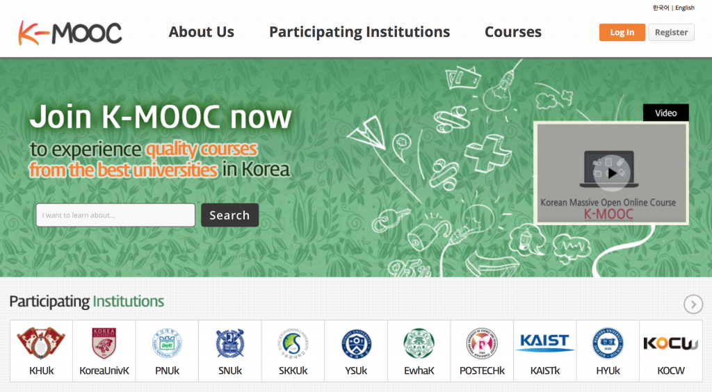 Courses on K-MOOC cover a wide range of academic fields, from economics and creative thinking, to artificial intelligence and film studies, and the fact that many of the lectures are given by some of Korea's most renowned scholars has also contributed to the platform's rapid popularity. (K-MOOC Homepage)