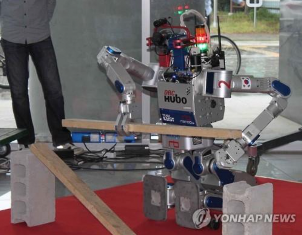 "A disaster relief robot, called ""Hubo,"" is displayed at the Korea Advanced Institute of Science and Technology (KAIST), on May 24, 2016. (image: Yonhap)"