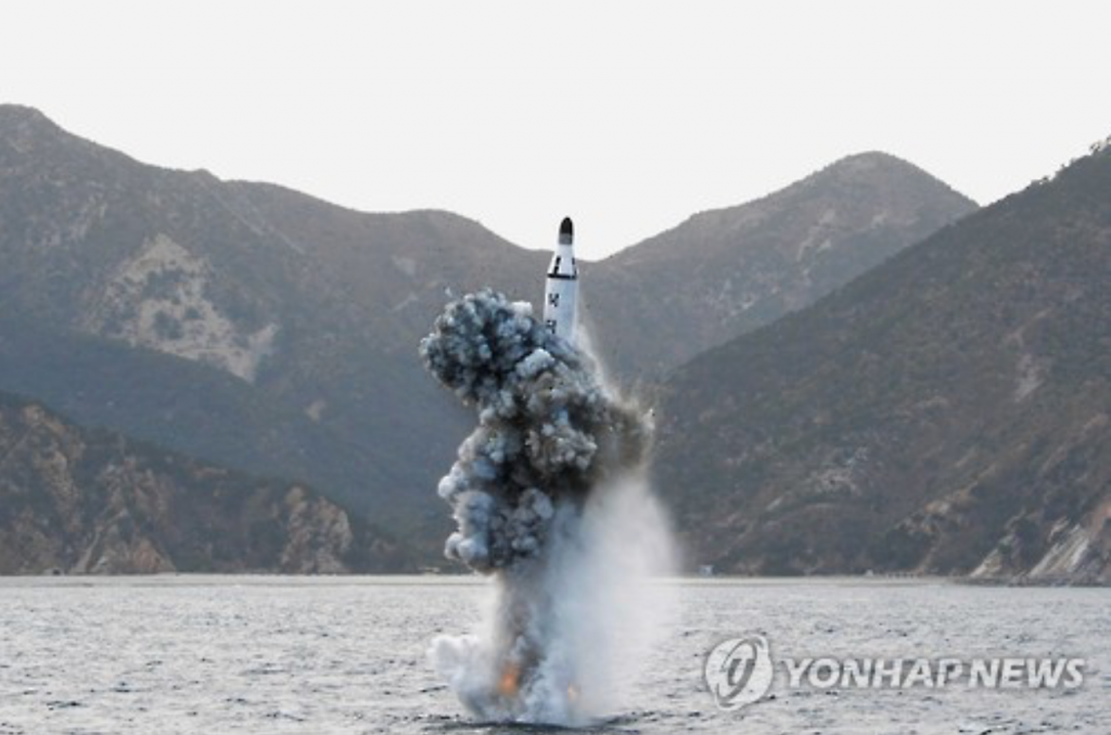 On Saturday, the North test-fired a submarine-launched ballistic missile (SLBM) off its east coast that ended in failure, according to the South Korean military. (image: Yonhap)