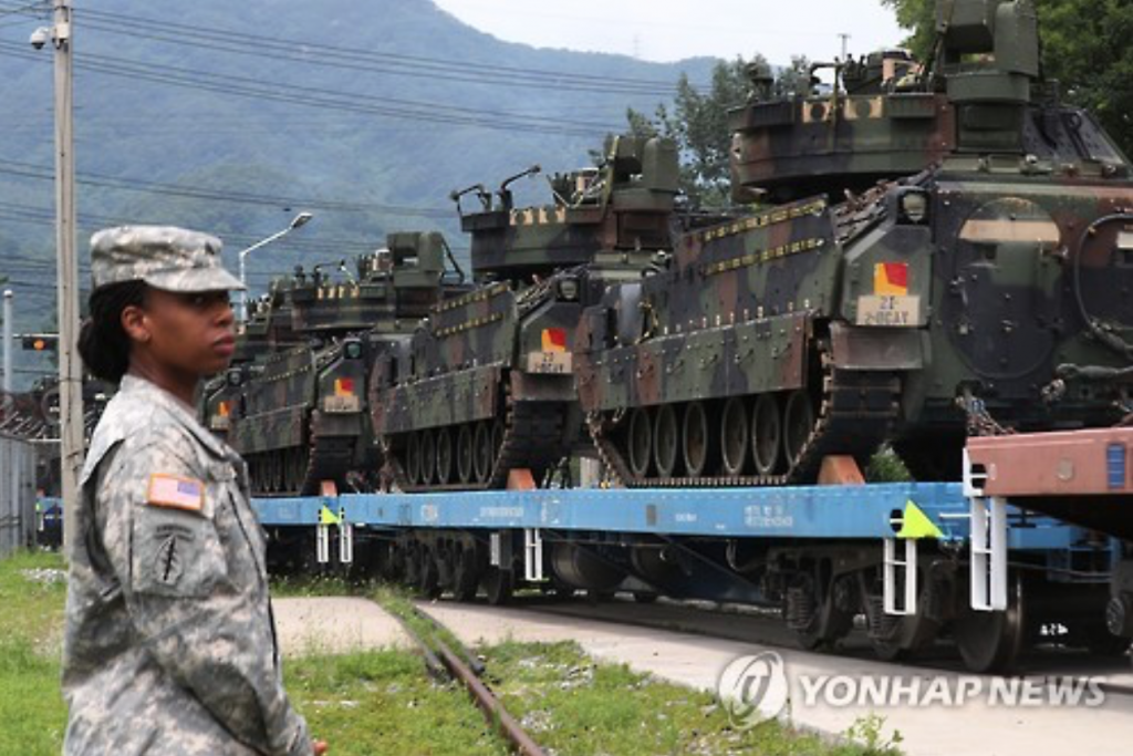 American military forces are mobilizing their troops south in accordance with the Korea-U.S. agreement to move all U.S. forces to military garrisons south of the Han River, which flows through the Korean capital. (image: Yonhap)