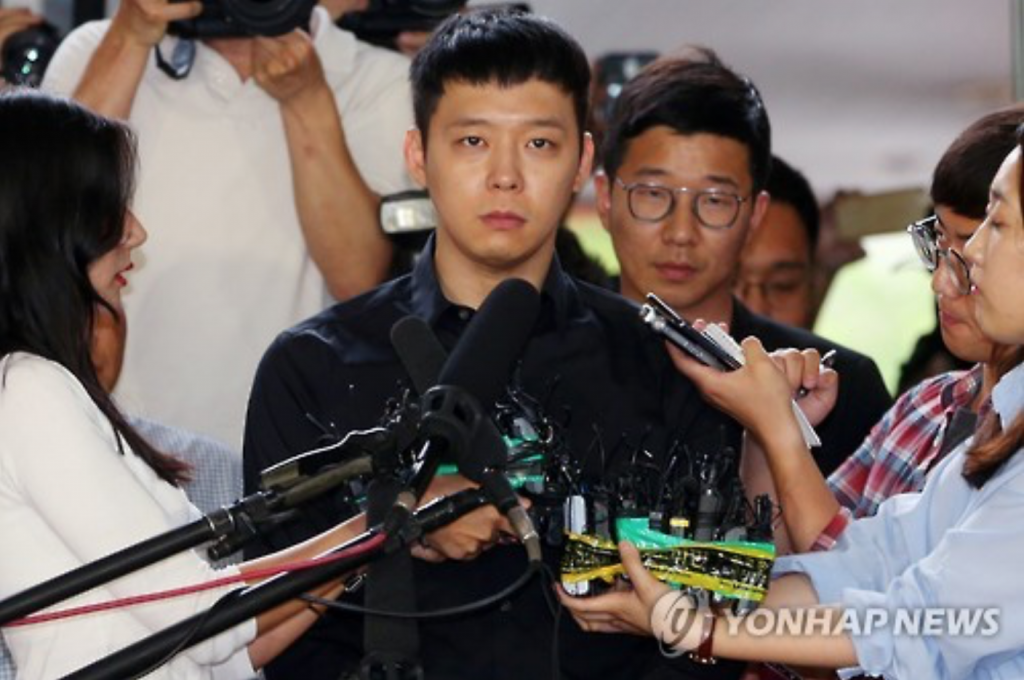 Park Yoo-chun, the troubled member of popular K-pop boy band JYJ, appears at the Gangnam Police Station in southern Seoul on June 30, 2016, to face questioning over sexual assault allegations, which have been rocking the local entertainment scene. (image: Yonhap)