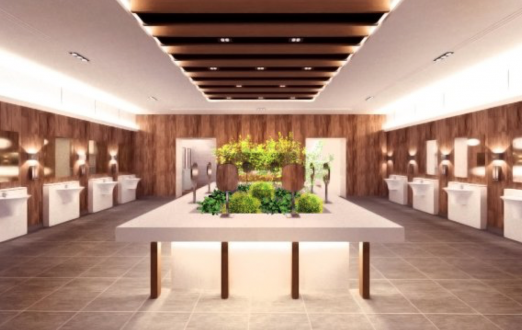 Restrooms at Manghyang Rest Stop feature Hanok – Korean traditional house – designs that are reminiscent of a nearby city's (Cheonan) traditional cultural heritages such as Jiksan Hyanggyo, and Honggyeongsa, a Buddhist temple. (image: Korea Expressway Corporation)