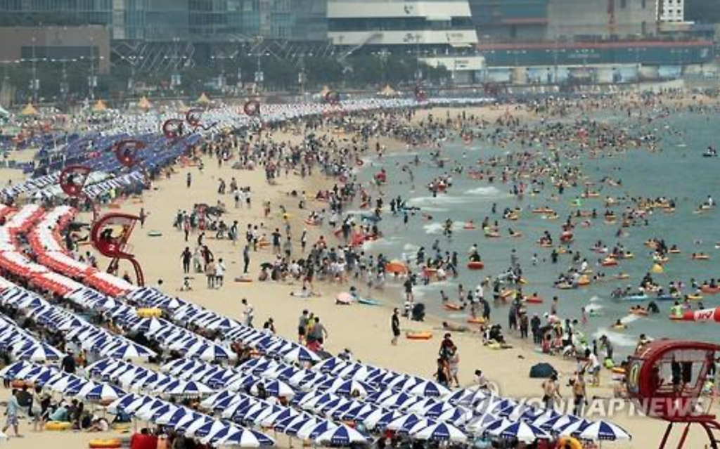 Busan's Haeundae Beach is crowded with swimmers on July 24, 2016. (image: Yonhap)