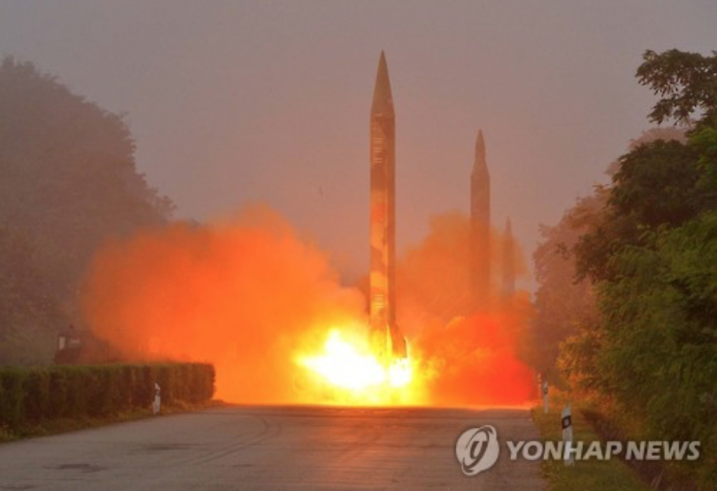 One of three ballistic missiles being fired from North Korea on July 19, 2016. (image: Yonhap)