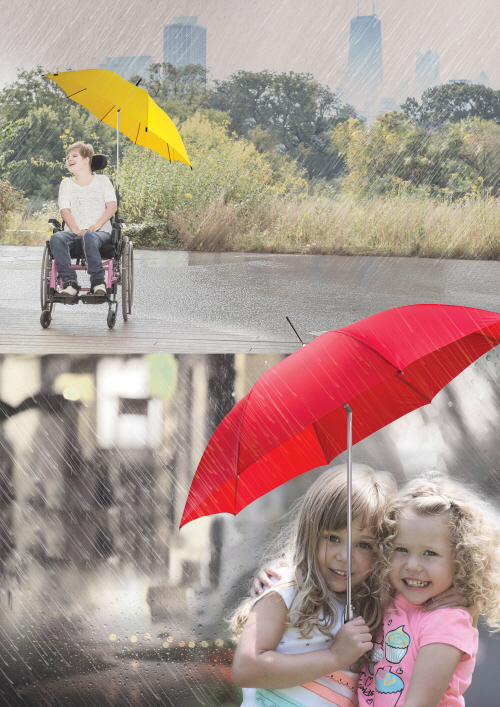 """We designed the umbrella so that its head moves freely depending on the wind direction,"" said Professor Jung Yeon-woo, who led the team. ""And because of its convenience, we believe that it will be particularly useful for children and the elderly."" (image: UNIST)"