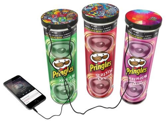 The world's best-selling potato chip company now sells Pringles in an amplifying speaker can.