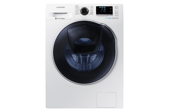 """The new """"AddWash"""" washing machine allows users to put extra items into the machine after a wash cycle has started, through a little window on the upper part of the main door. (image: Samsung Electronics)"""