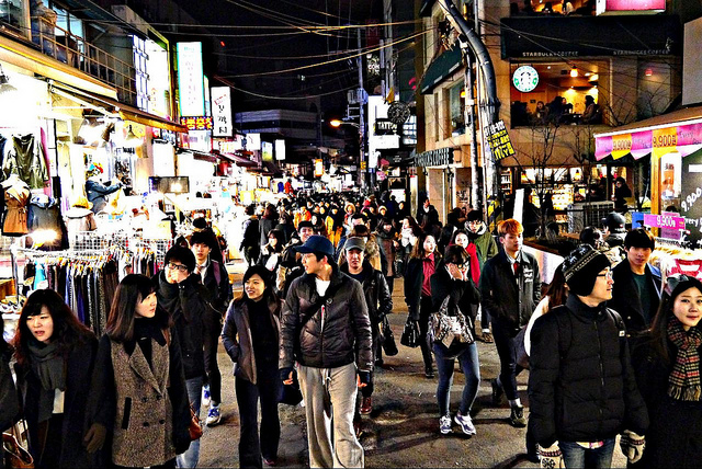 Hongdae is known for its youth-driven urban arts and indie music culture, clubs and entertainments. (image Flickr/ Michael-kay Park)