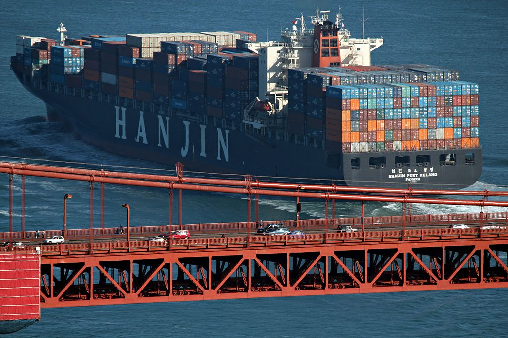 Hanjin Shipping has been striving to cut its chartered rates and extend maturity of debts in the face of its worsening financial health stemming from a continued fall in freight rates. (image: Wikimedia)