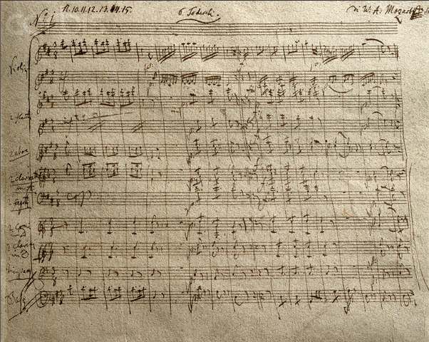 Mozart Score of the K550 Symphony. (image: Wikimedia)