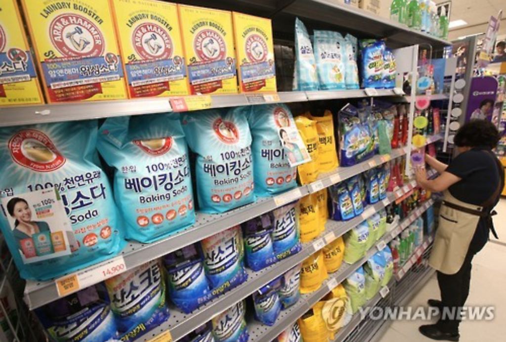 No products of Britain's Oxy Rekitte Benckiser are found on the shelves of a retail store in Seoul amid a consumer boycott on June 27, 2016. (image: Yonhap)