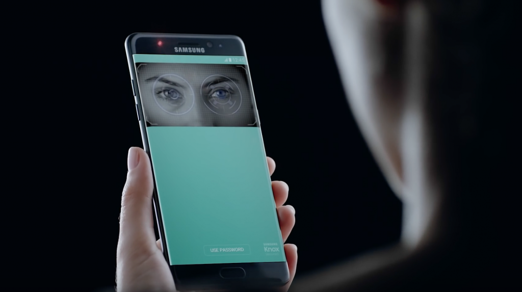 During the event, Korea's three biggest banks – Shinhan, Woori, and KEB Hana – revealed that they will launch a new mobile banking service using 'Samsung Pass', a self-identification service that makes use of the tech giant's latest iris-scanning technology. (image: Samsung Electronics)